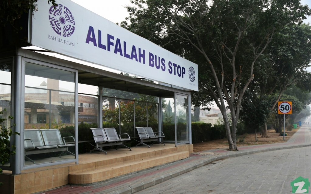 A bus stop in Bahria Town Lahore