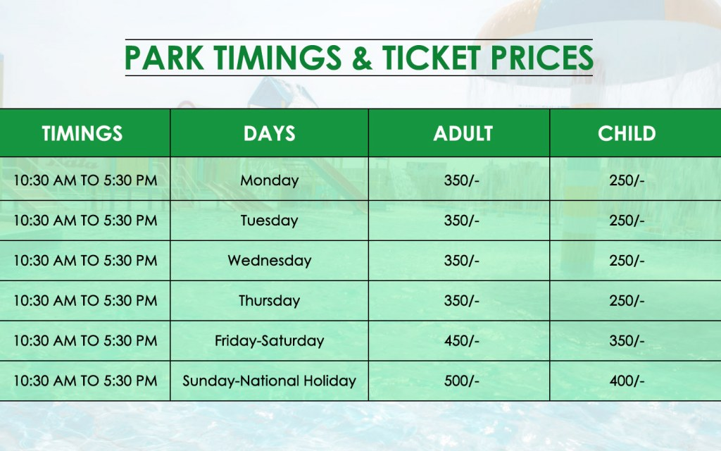 Sozo Water Park Timings and Ticket Price