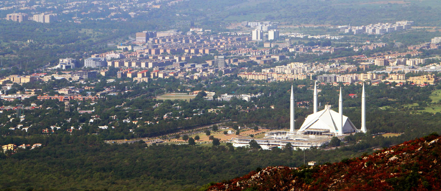 An aerial view of Islamabad city