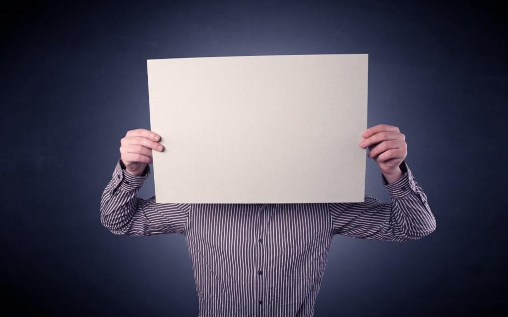 Man Hiding Behind Cue Notes