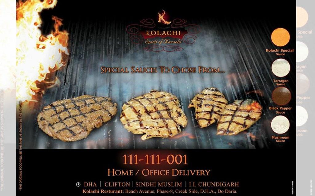 kolachi is a famous steak restaurant in karachi