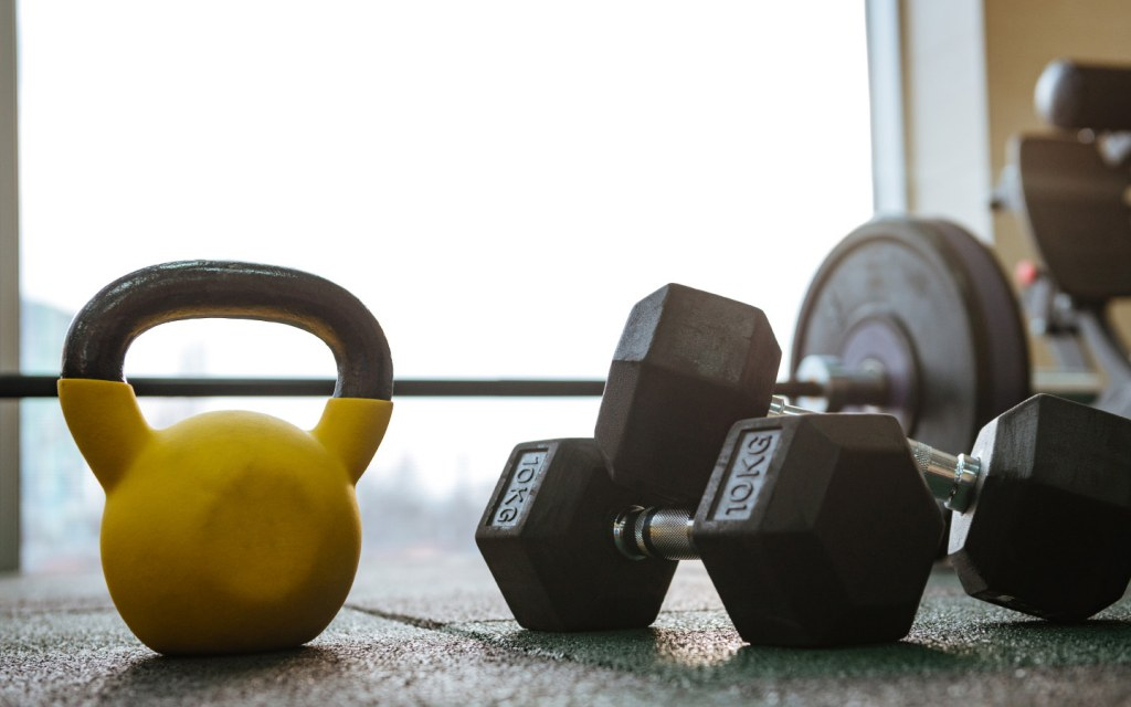 dumbbells and gym equipment