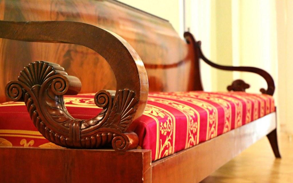 sofa with beautifu lwooden carving, a famous Pakistani art