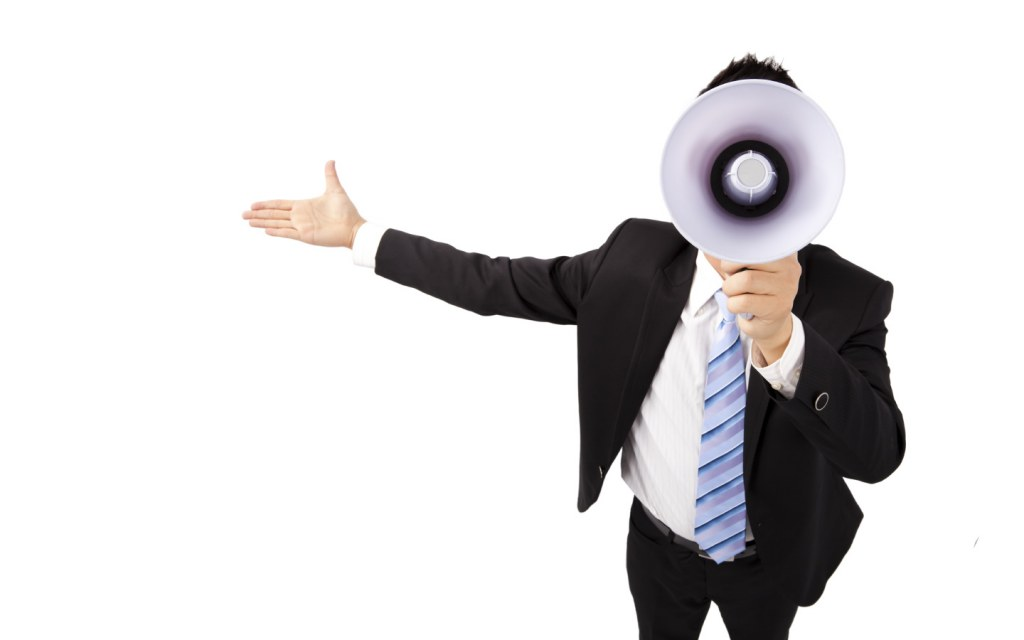 Man with Megaphone, projecting his voice during a speech
