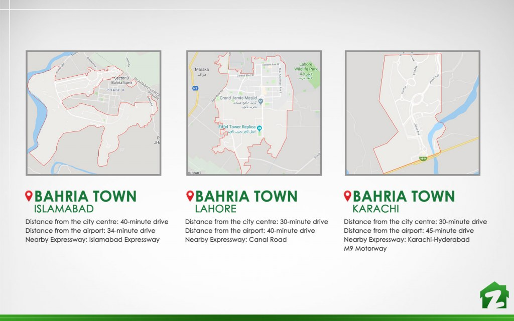 Location and travelling distance from Bahria Town
