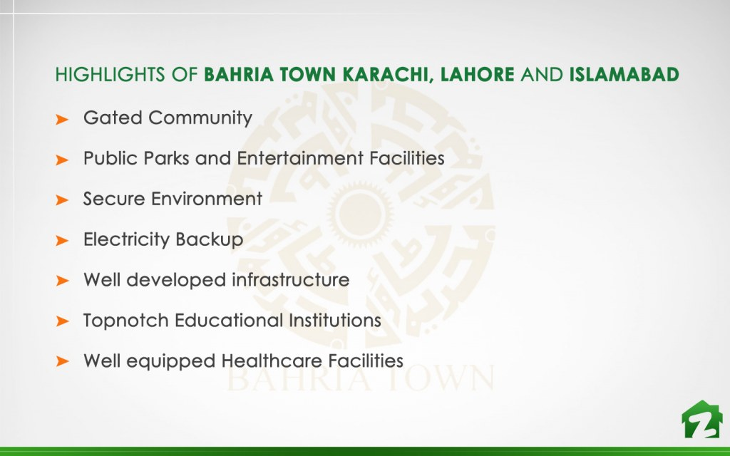 Facilities in Bahria Town