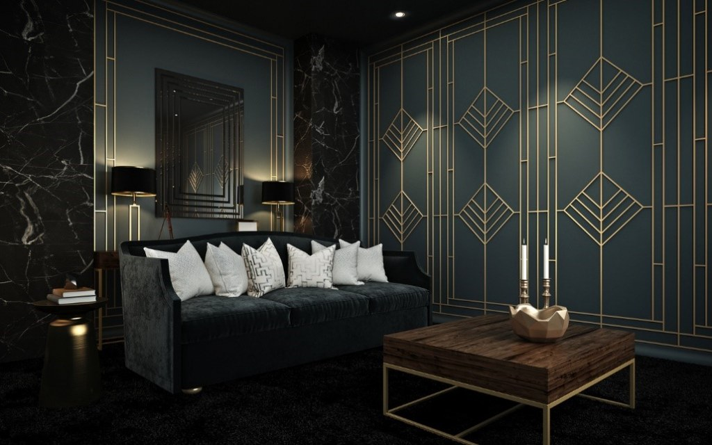 Black art deco walls in a spacious room