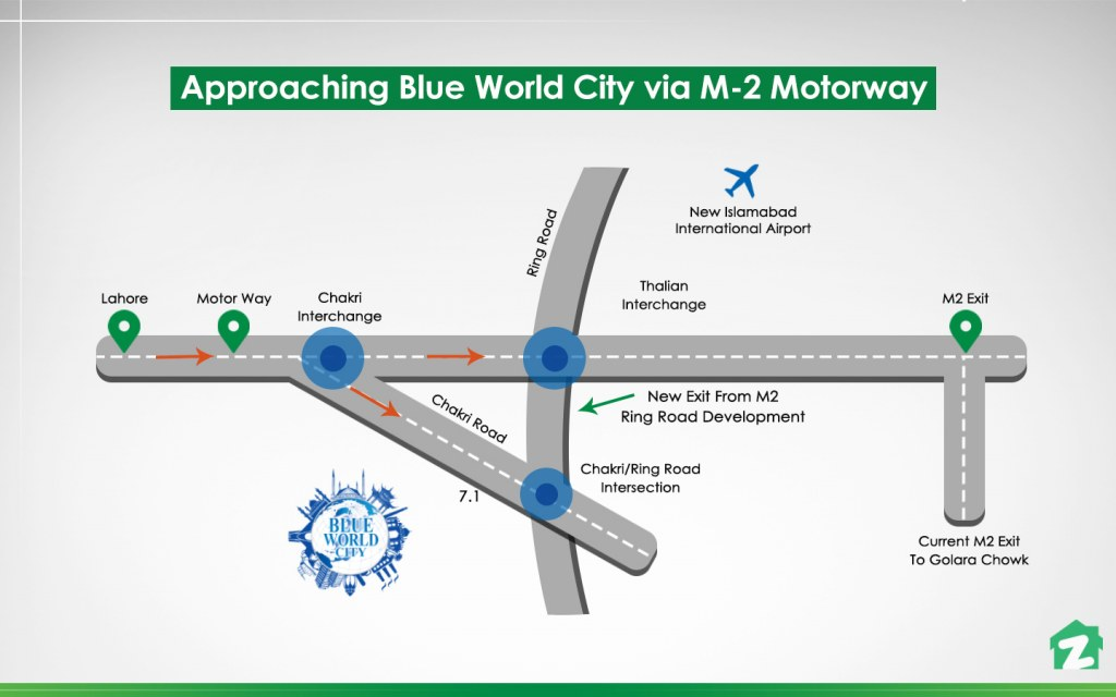 Approaching Blue World City from M-2 Motorway