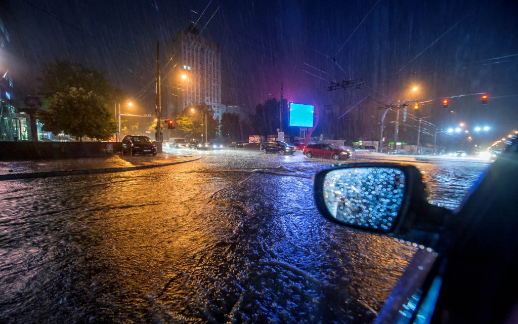 Even if it is only damp on the road your car can skid away