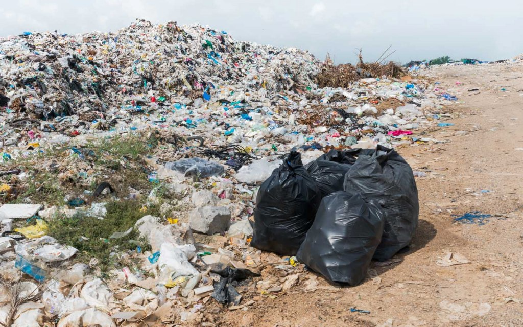 Plastic pollution usually piles up in a landfill