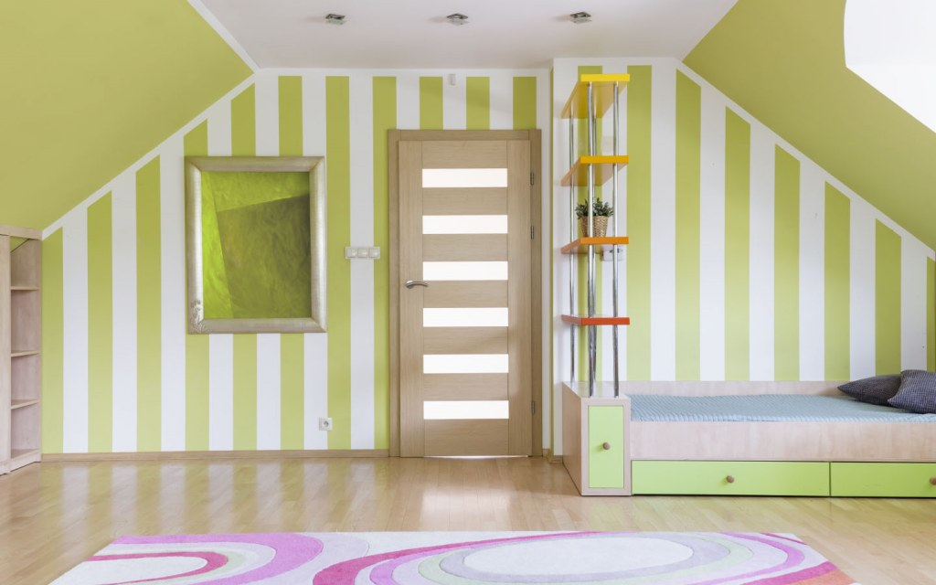 Use stripes to break the monotony in your walls