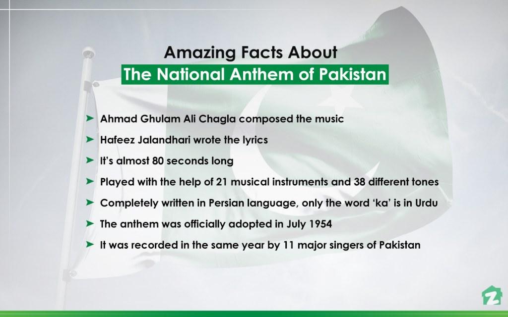 Pakistan's national anthem and unique facts