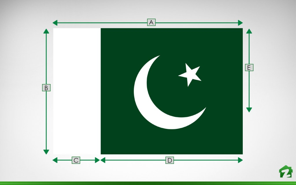 Dimensions of flag of Pakistan