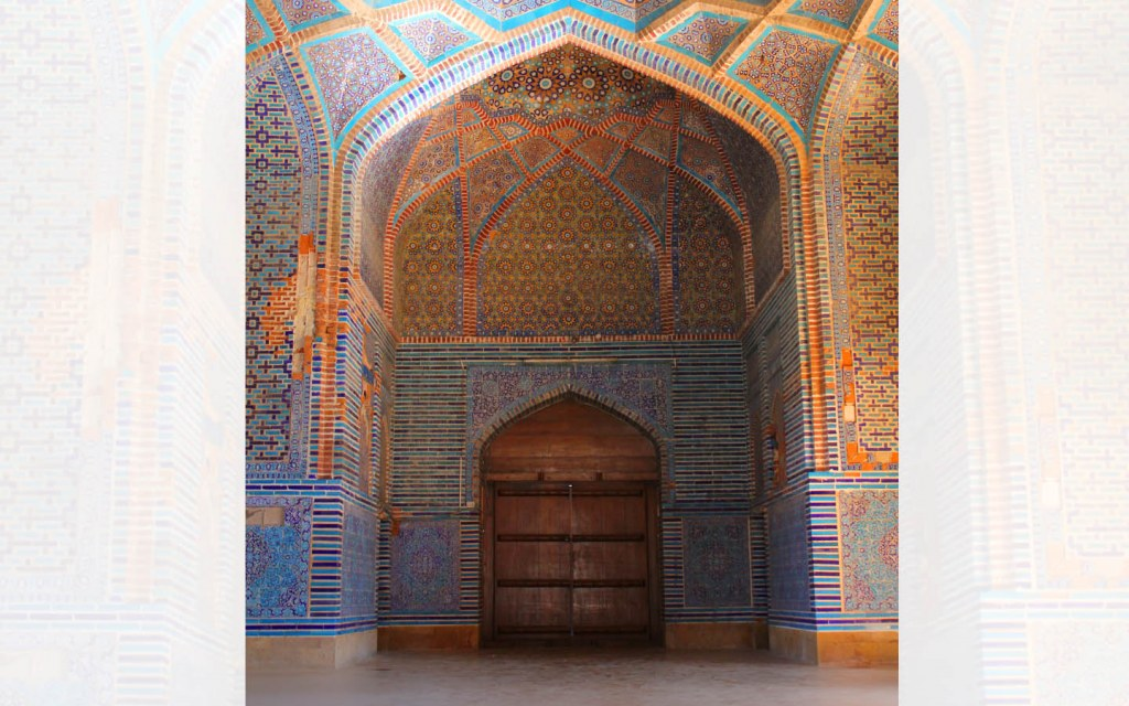 The Shah Jahan Mosque has four outer doors leading to a central courtyard