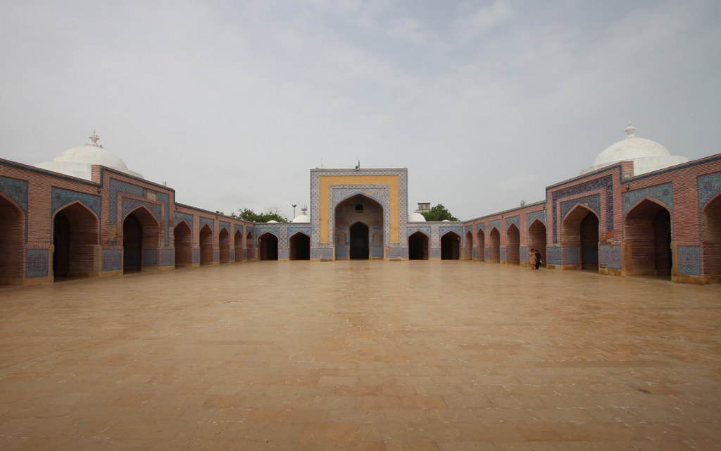 The Shah Jahan Mosque is known for its geometric brickwork and patterned tilework
