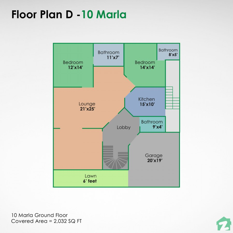 This 10 marla plan is ideal for creating rental portions