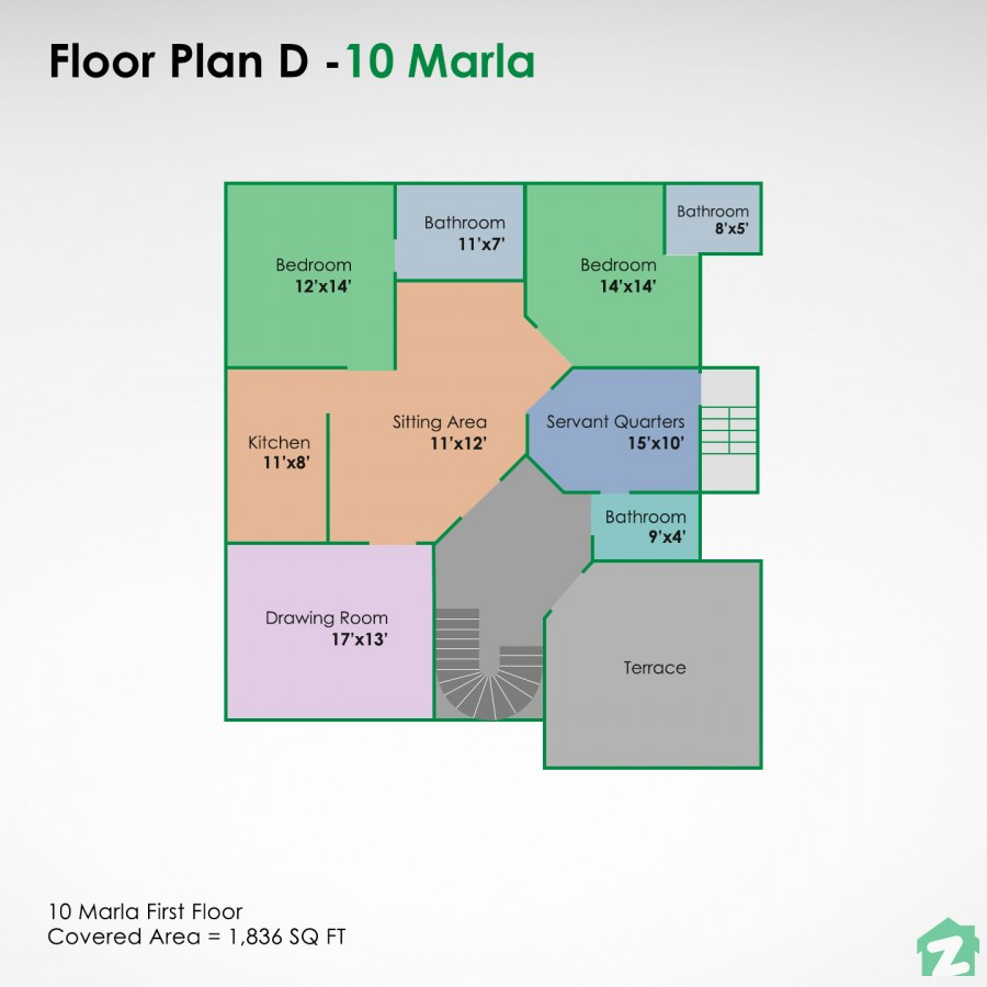 10 marla house map for Pakistan for rental portions