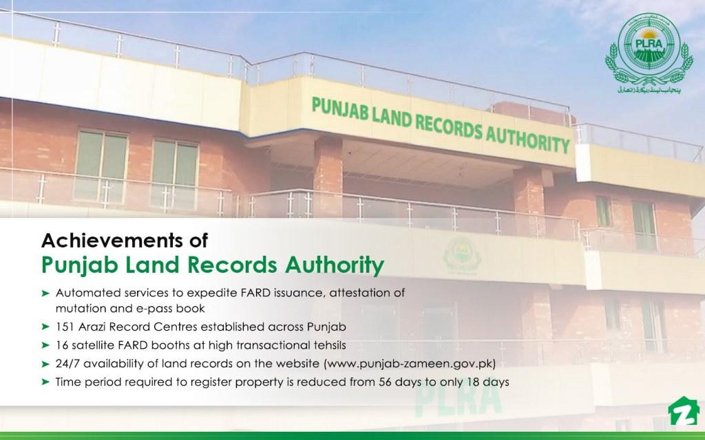 Many achievements of Punjab Land Records Authority