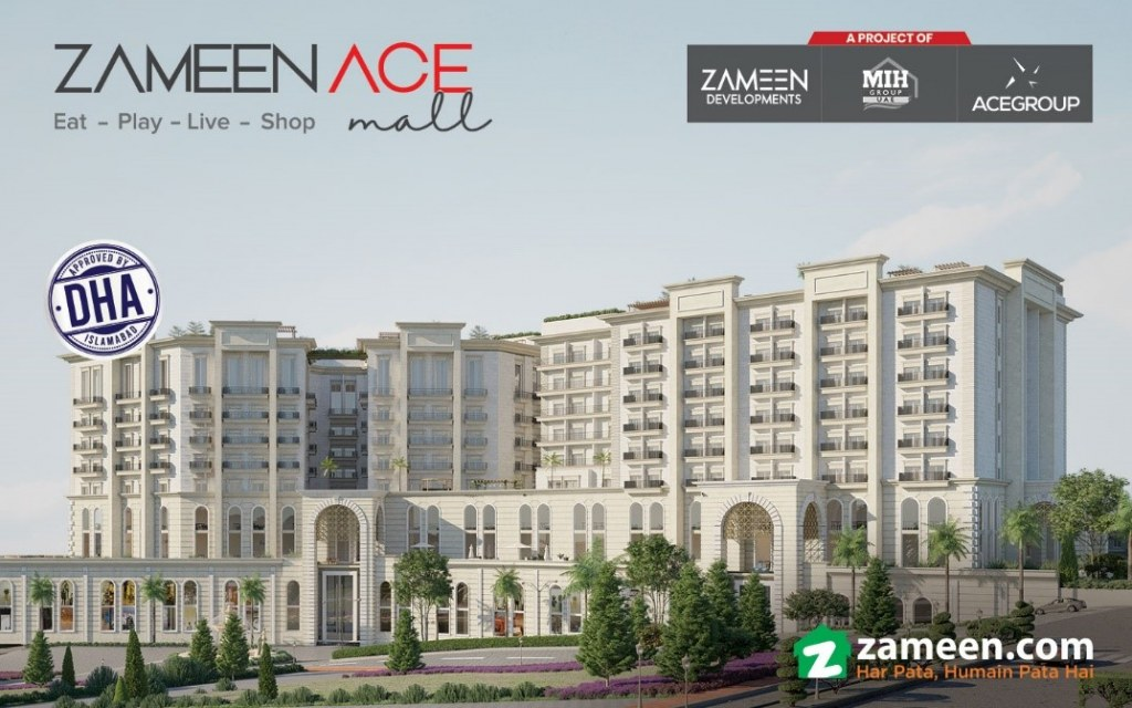 Render image of Zameen Ace Mall's architectural structure