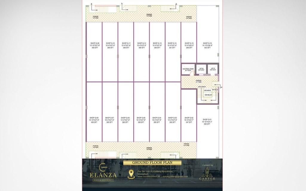 ground floor plan of Elanza Mall & Residency