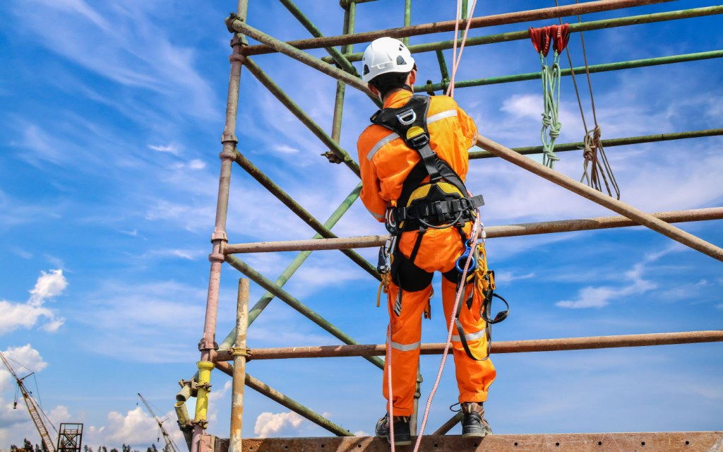 If a worker wears a harness he can be protected from injury