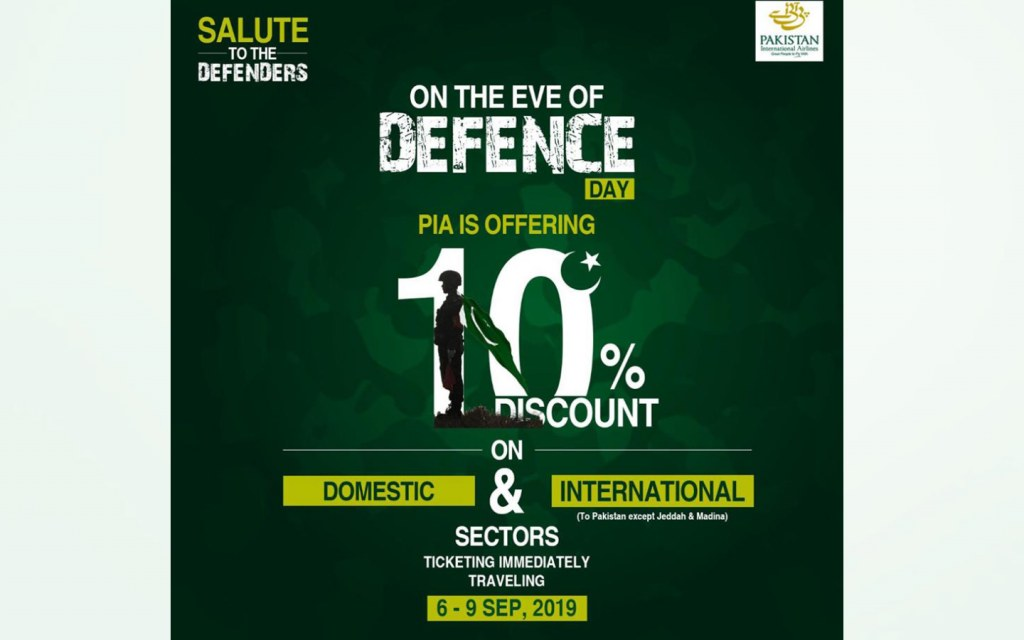 PIA offers Defence Day discount on flights