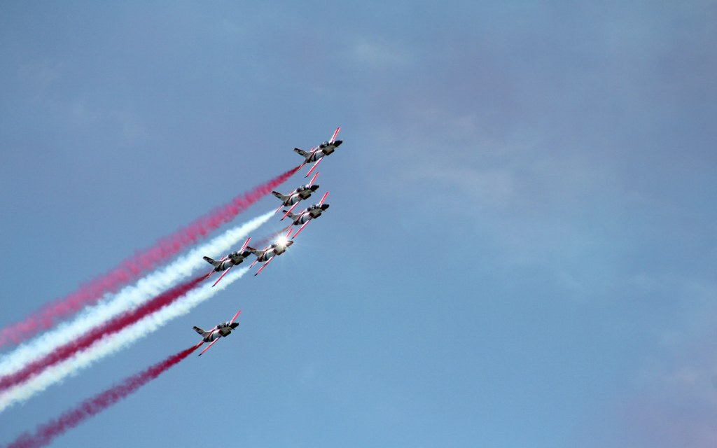 Air shows and parades are held to celebrate Defence Day