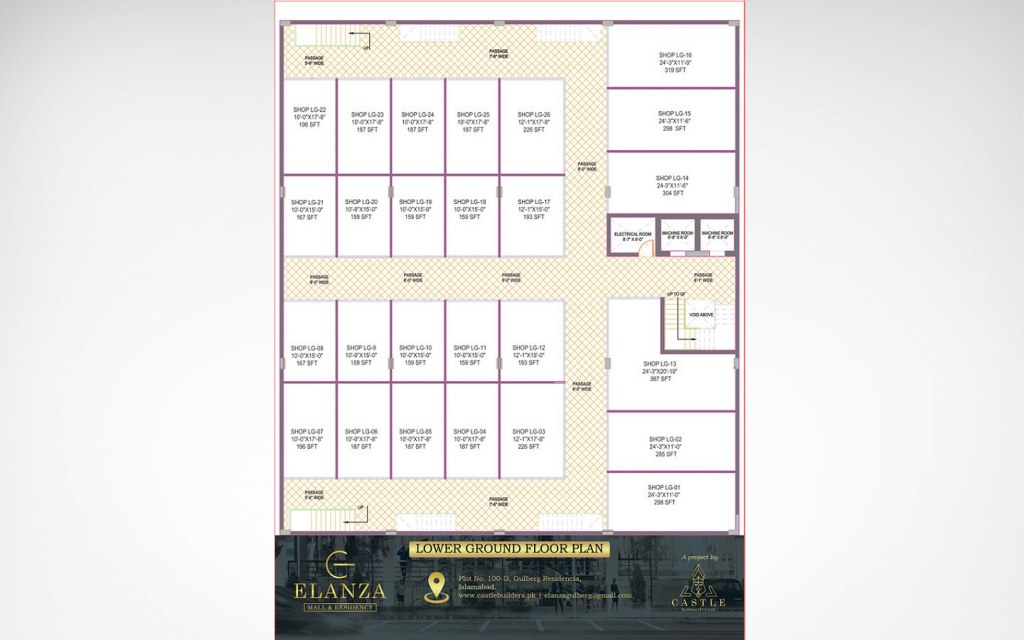 lower ground floor plan of Elanza Mall & Residency