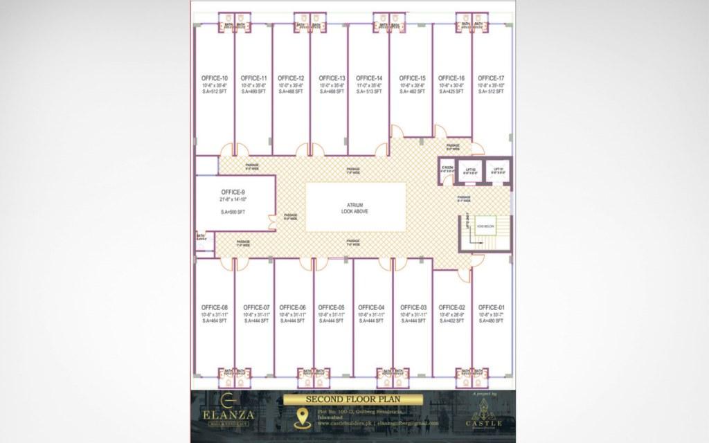 second floor plan of Elanza Mall & Residency