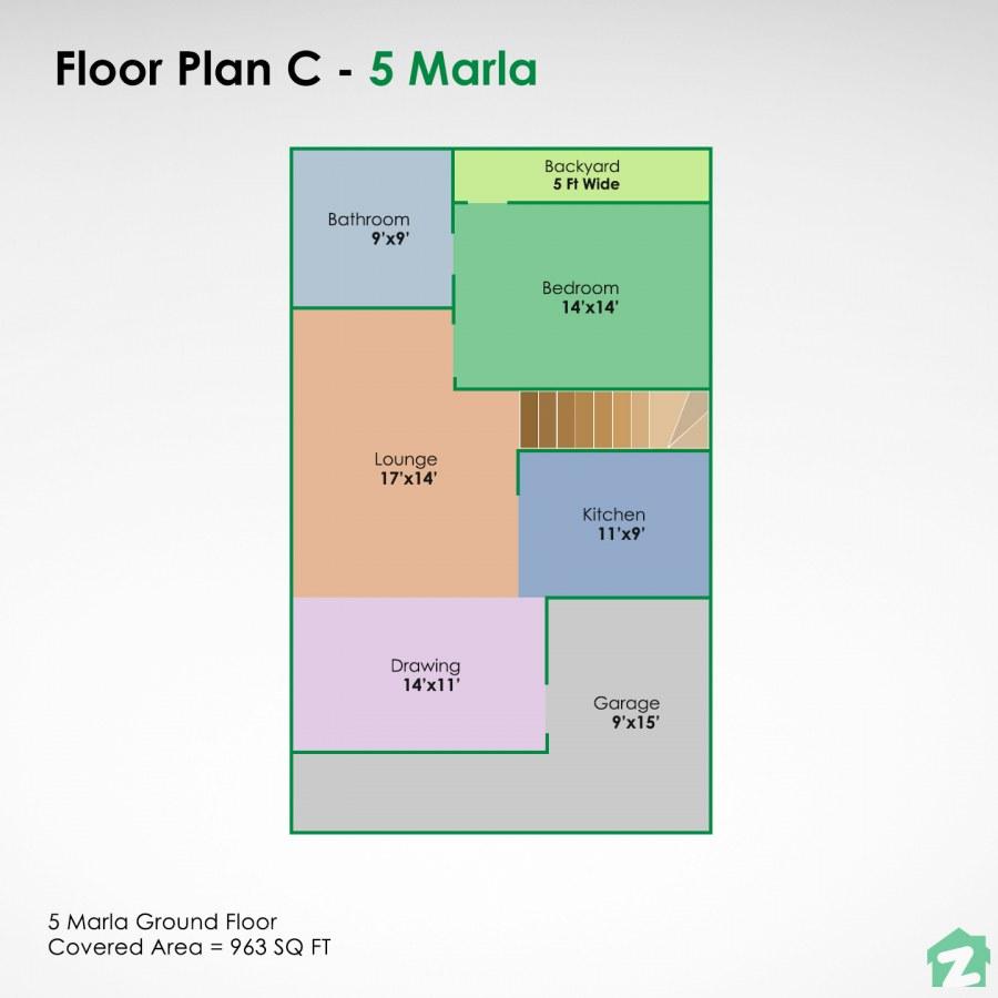 Open plan living on a 5 marla plot