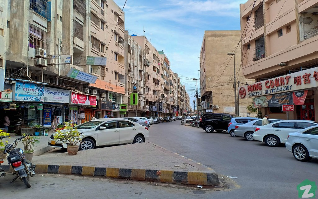 one of the commercial markets in DHA Karachi