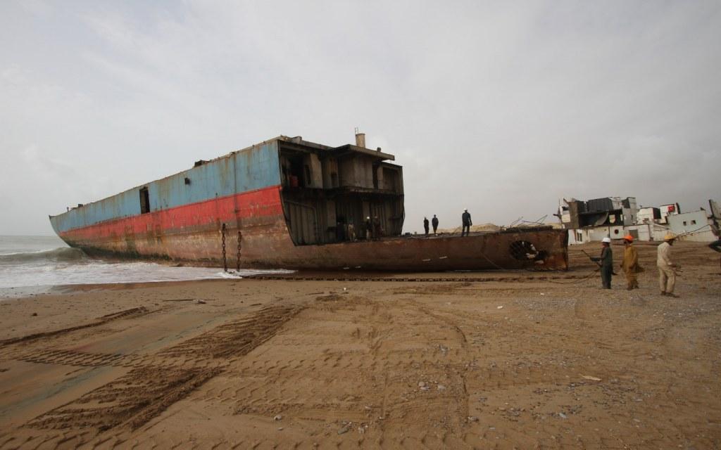 Gadani ship-breaking yard is located along the Gadani beach road