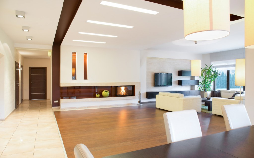 An open floor plan makes up a living space in which a living space in which two or more traditional-use spaces are joined
