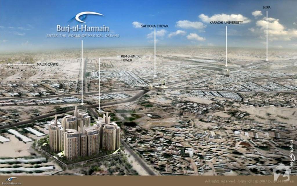 Burj-ul-Harmain offers close proximity to University Road, Malir Cantt, NIPA and Jinnah Avenue