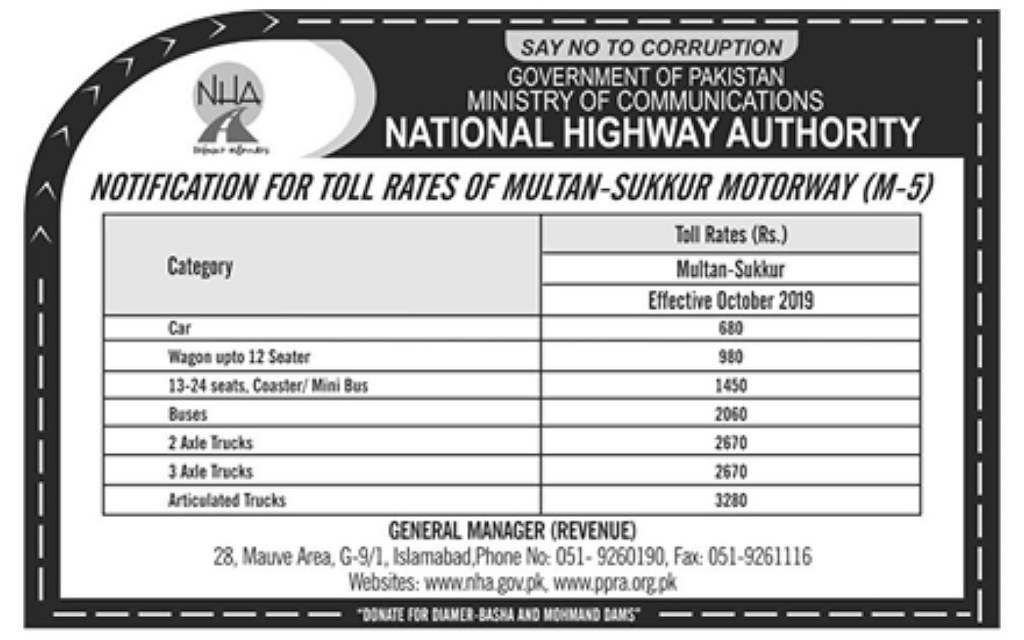 Check out the toll rates on M-5 Motorway