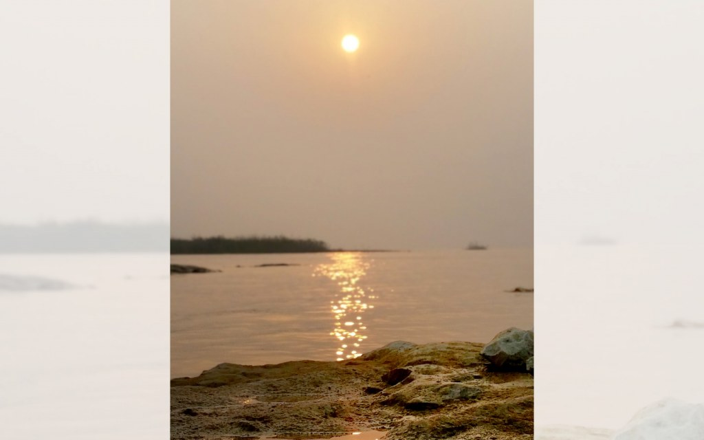 Beautiful view of sunset at Keenjhar Lake