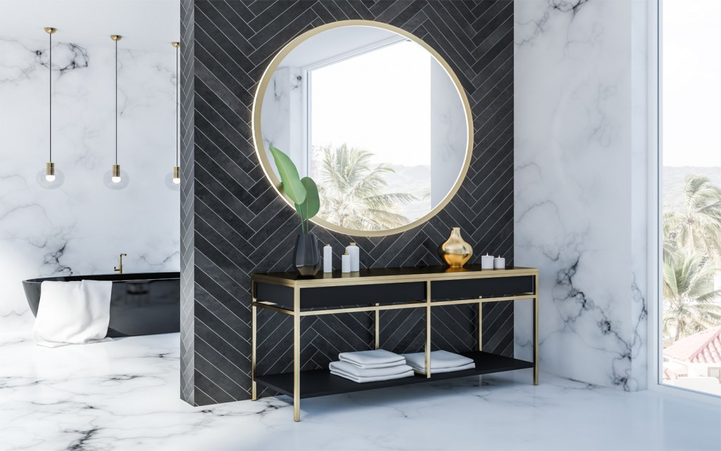 A mirror is essential for designing a vanity