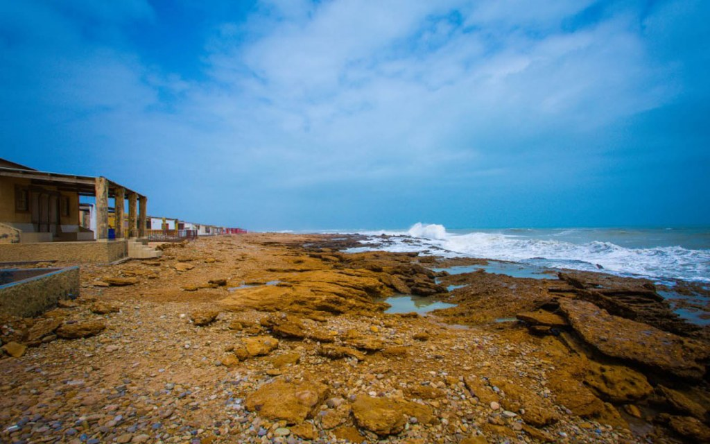 Gadani beach features a mix of silky sand and rocky cliffs