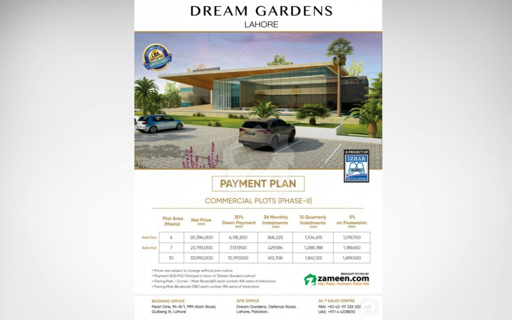6, 7, and 10 marla plots are available for commercial investment at Dream Gardens, Lahore