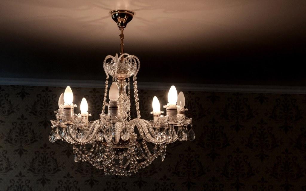 Indoor light fixtures in Pakistan include chandeliers