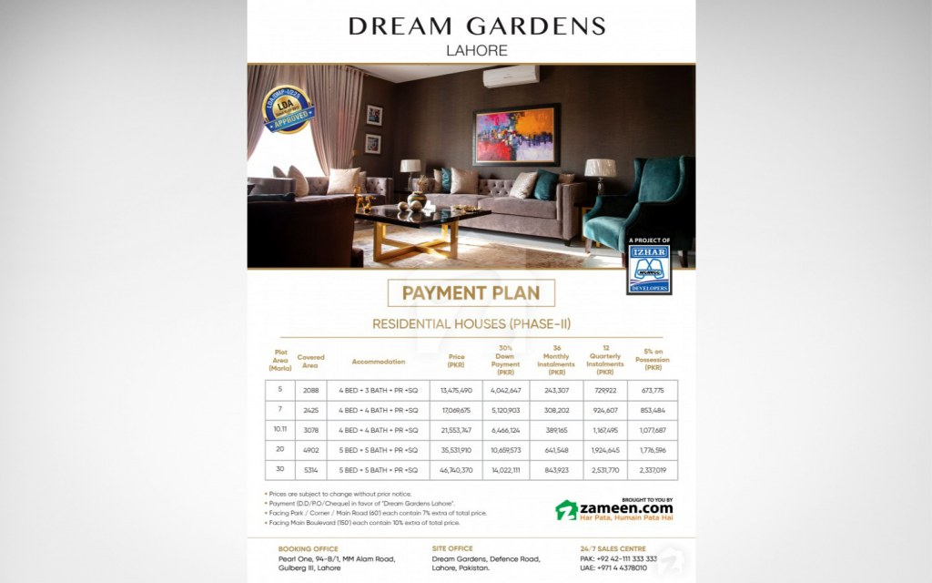 5, 7, 10, 20 and 30 marla houses are available for sale at Dream Gardens, Lahore
