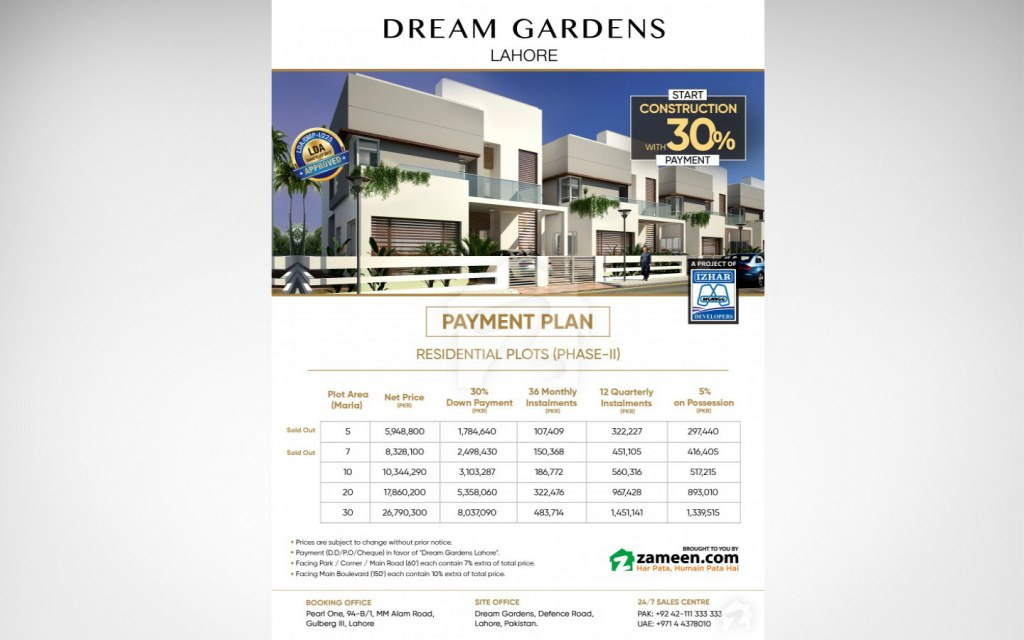 Residential Plots are available at easy 3-year instalments