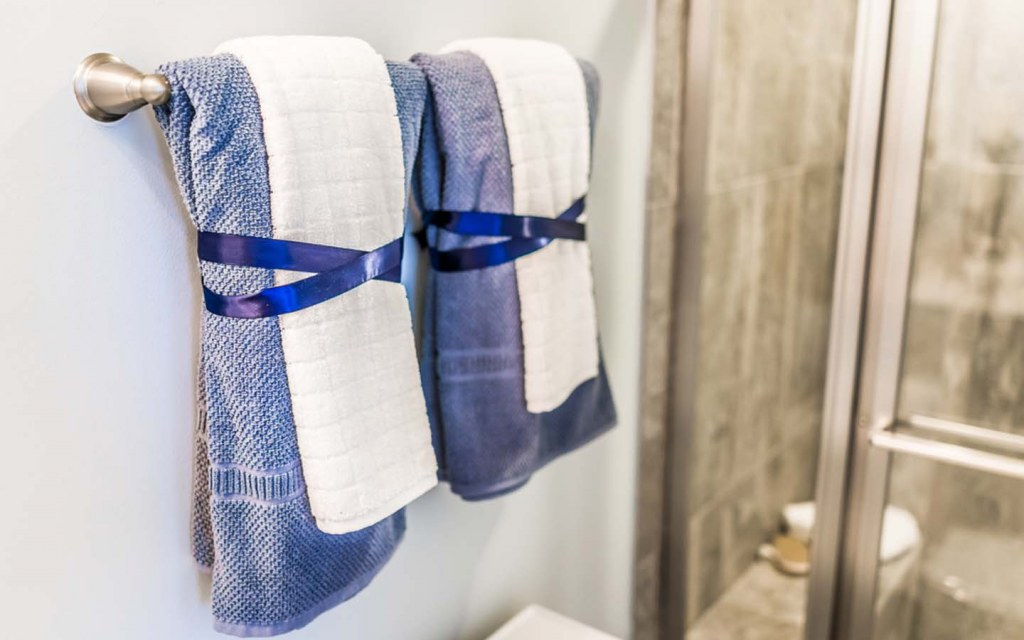 Buy matching towels to create balanced look