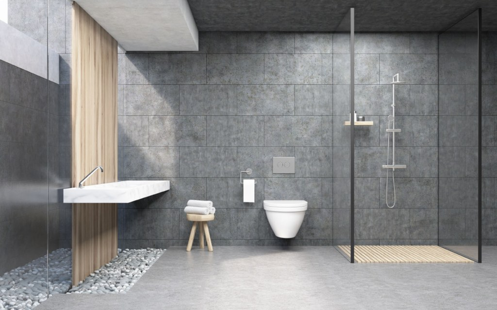 Fo for floating toilets and vanity sets in the bathroom for a modern outlook