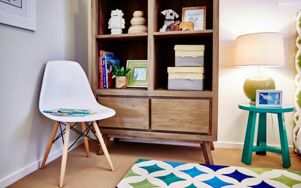 Add a bookshelf to create a reading corner