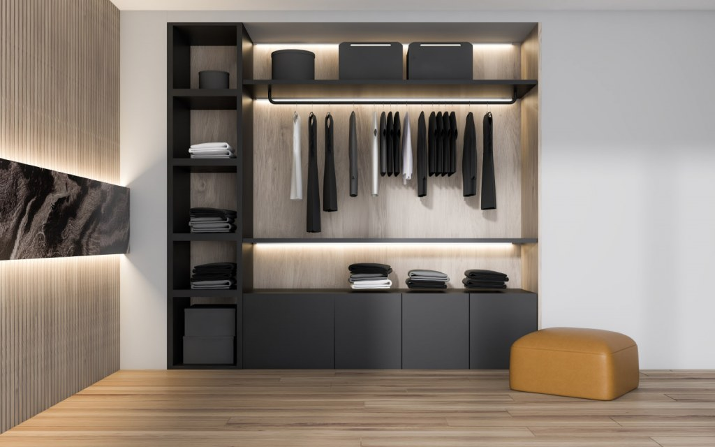 Lights inside built-in wardrobes look great along with offering better functionality