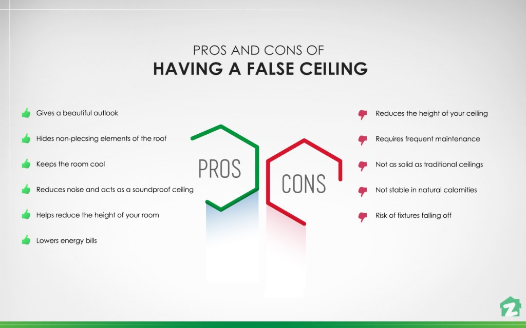 The advantages and disadvantages of having a false ceiling