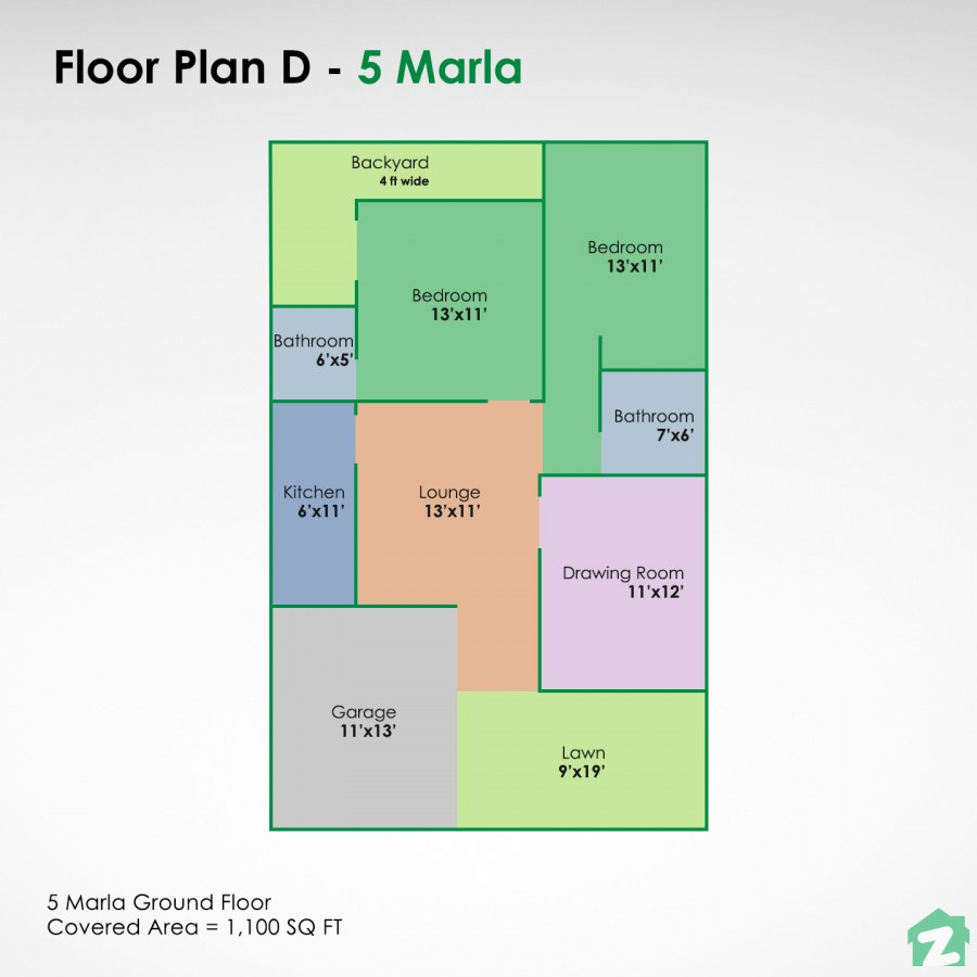 5 marla house map for a single-storey build