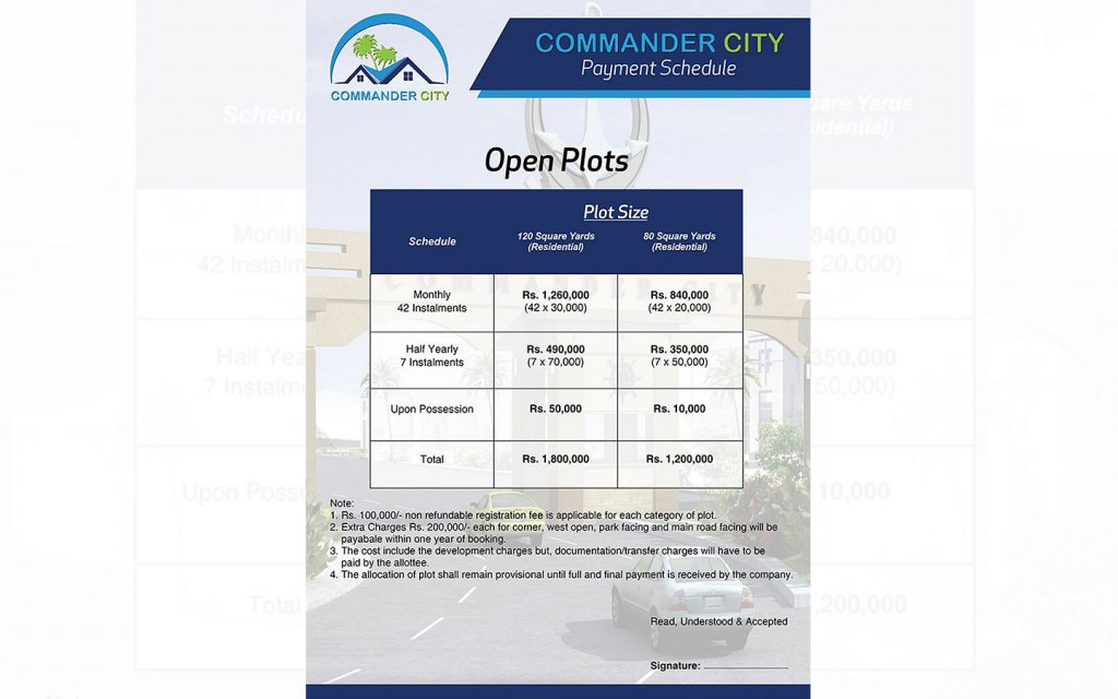 Plots for sale at Commander City