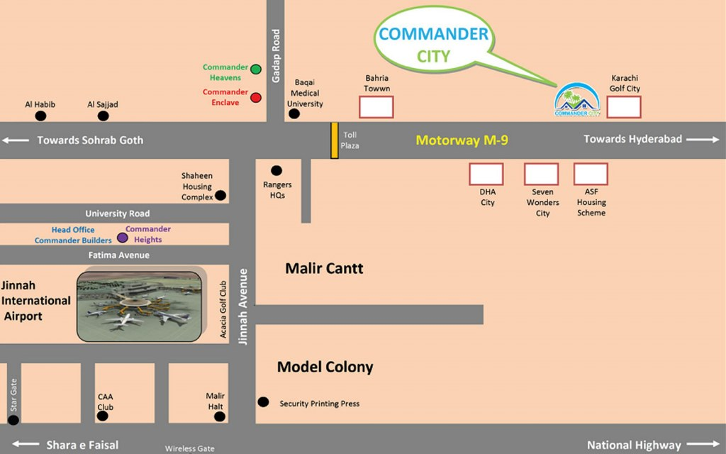Location of Commander City, Karachi